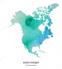 Map Of North America Map by Watercolor Map Of North America U2014 Stock Vector Superson 73018123