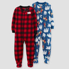 baby boys 2pk fleece buffalo check polar bears footed pajama