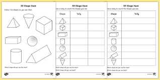 3d shape hunt activity sheet 3d shape hunt worksheet sheet