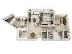 Floor Plan Apartment Design 3 Bedroom Apartment House Plans 3d Floor Plans Pinterest