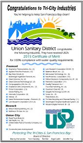 certificate of merit program union sanitary district