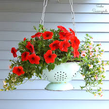 diy hanging flower basket planter with a repurposed vintage colander