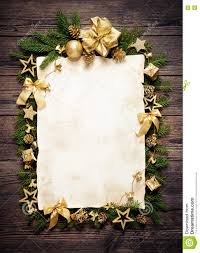 old paper bordering with christmas decoration stock photo image