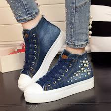 Decorate Shoes Blue Denim Canvas Shoes With Beads For Decoration Womens Platform