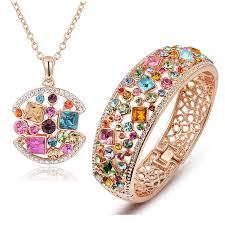 plated rose gold necklace images Qianse quot party queen quot perfect match luxury multicolor crystals rose jpg