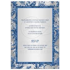 Silver Wedding Invitation Cards Winter Wonderland Bat Mitzvah Invitation Royal Blue Silver