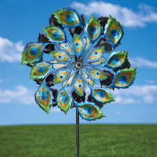 solar multi color wind spinner outdoor lawn garden decor