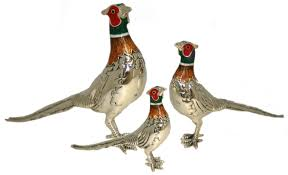 saturno silver and enamel pheasants small and large ornaments
