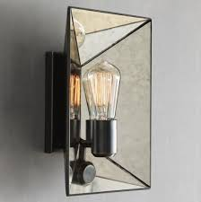 Mirrored Wall Sconce Faceted Mirror Sconce Modern Wall Sconces West Elm Pertaining To