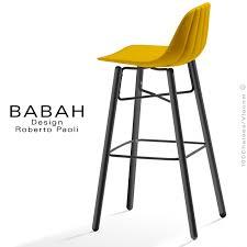 chaise de bar tabouret de bar design babah wood 80 pieds bois peint assise coque