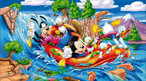 mickey mouse donald duck gofy sailing river desktop