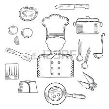 cook profession hand drawn design with sketch of man in chef