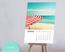 Small Easel Desk Calendar 2018 Calendar Beach Photography Calendar 4x6 5x7 Ocean Themed