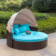 sundale outdoor rattan wicker daybed round furniture sofa with