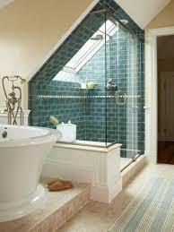 small attic bathroom ideas bathroom design ideas glass walls shower slope ceiling accent wall