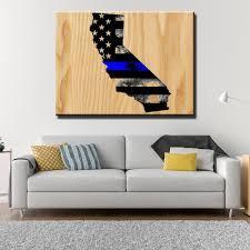 california thin blue line wooden wall decor canvas freaks