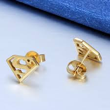 superman earrings fashion stainless steel superman earrings women gold color stud