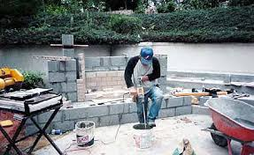 Building Outdoor Fireplace With Cinder Blocks by Install Garden Wall Concord North Carolina Nc