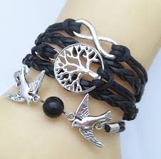 leather bracelet with silver charm images Infinity tree leather charm bracelet jpg