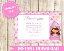 princess thank you note princess thank you card princess