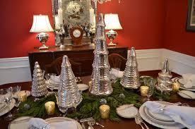 xmas tree on table mercury glass christmas tree table setting tablescape