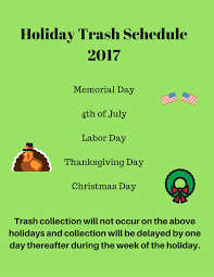 holiday trash schedule cmsd