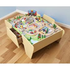 wooden activity table for plum wooden activity train table with track and trains uk