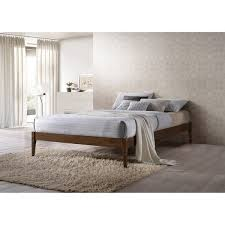 Wooden Platform Bed Frame Baxton Studio Damon Mid Century Modern Walnut Finishing Solid Wood