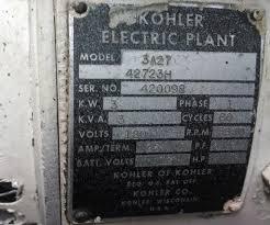 kohler electric plant 3a27 42723h ser 420098 smokstak
