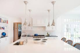 Large Kitchen With Island Large Kitchen Island With Four Mini Industrial Pendants