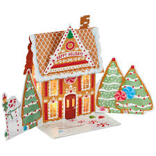 gingerbread house pop up musical christmas card with light