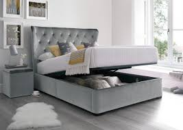 Ottoman Storage Uk by Savannah Upholstered Winged Ottoman Storage Bed Velvet Grey