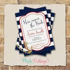 nautical bridal shower invitations bridal shower invitation navy white invitation anchor