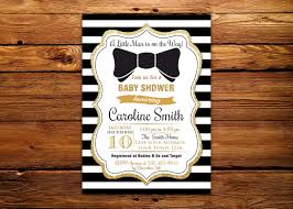 bow tie baby shower invitations printable black gold baby