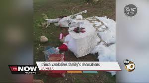 grinch vandalizes la mesa family u0027s christmas decorations youtube