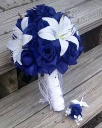 wedding flowers royal blue royal blue white wedding bouquet with boutonniere royal