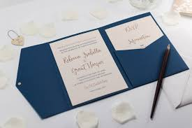 pocket fold calligraphy wedding invitation in navy blue pocketfold bossa