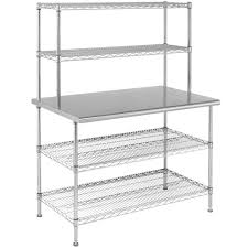 stainless work tables w wire shelving