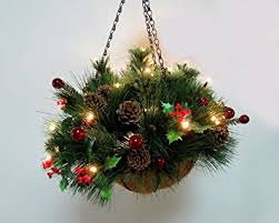 christmas hanging baskets with lights artificial holly and pine hanging basket with led lights amazon co