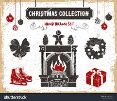 hand drawn textured vintage christmas icons stock vector 343205351