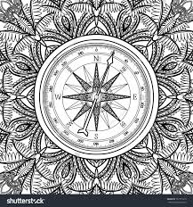 wind art graphic wind rose compass drawn line stock vector 367771619