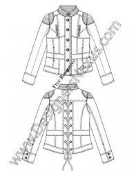 013 flat fashion sketch mandarin collar moto jacket illustrator