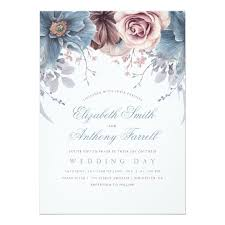 wedding invitations blue dusty blue and mauve watercolor floral wedding card zazzle