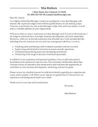 spa manager cover letter advertising operations manager cover