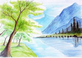 colour pencil drawings of nature landscape in colored pencil