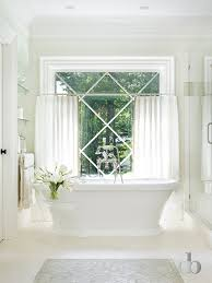 White Cafe Curtains Bathroom With Cafe Curtains Transitional Bathroom