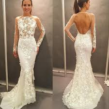 open back wedding dresses new arrival mermaid lace open back wedding dress boat neck lace