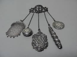 Silver Accessories Fabulous 19th C Victorian Period Sterling Silver Chain Chatelaine