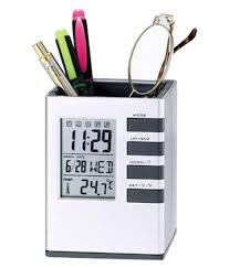 Desk Pen Stand Tuelip Digital Clock Office Corporate Pen Holder Cube Desk Pen
