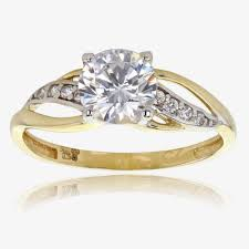 engagement ring gold 9ct gold diamonflash sup sup cubic zirconia